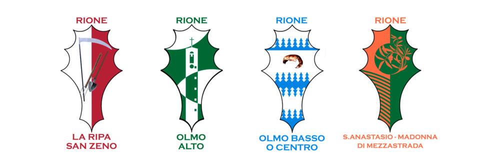 Gli stemmi dei quattro Rioni di Olmo